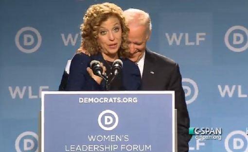 "That is Joe Biden ""behind"" Debbie Wasserman Schultz"